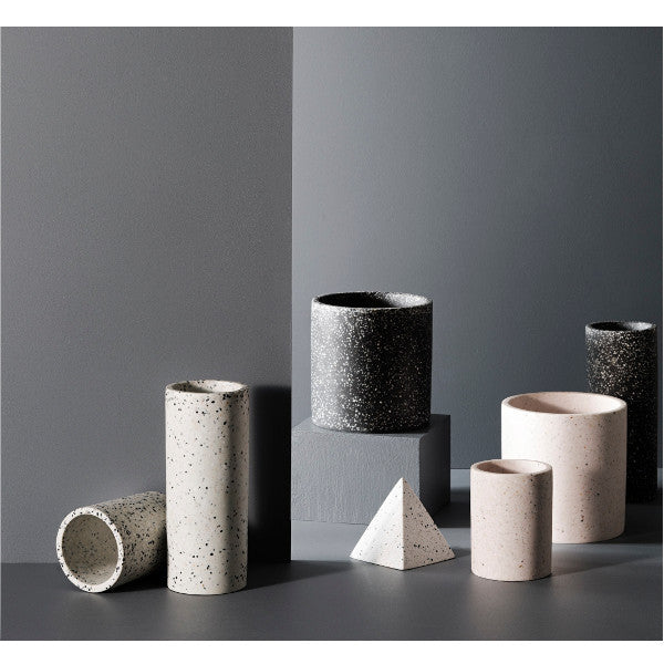 Zakkia - Minimalist white concrete terrazzo vessel | Shop it at Simple Palette
