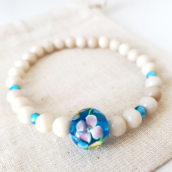 Limited Edition - Lampwork Flower Blue