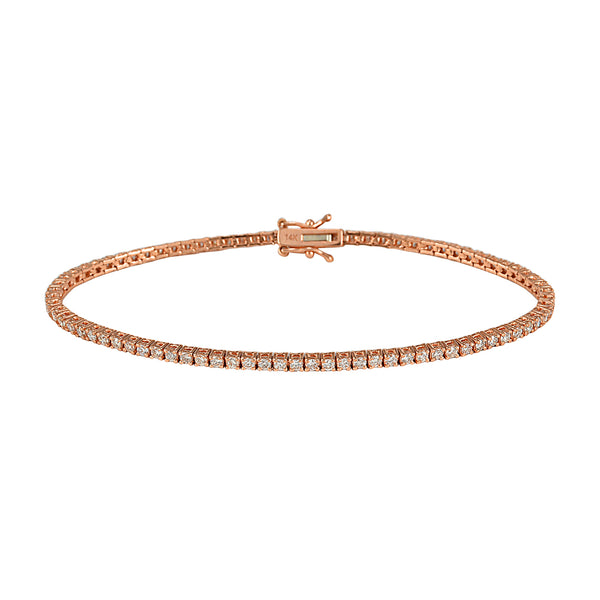 1.90 Diamonds in 14K Rose Gold Square Tennis Bracelet 7""