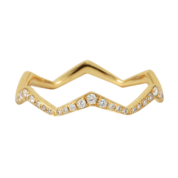 0.12ct Round Diamonds in 14K Yellow Gold Zig-Zag Trendy Stackable Ring