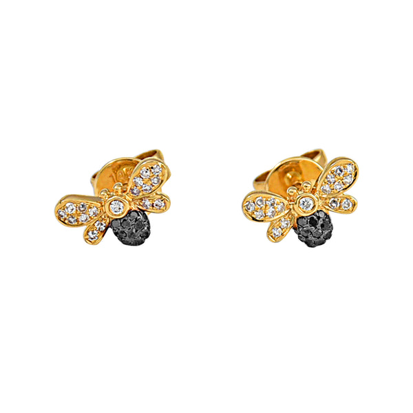 0.16ct Diamonds in 14k Gold Bee Stud Earrings