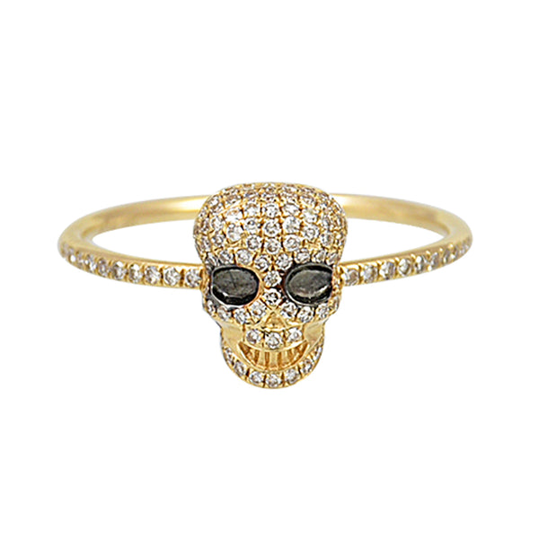 0.26tcw Diamonds in 14K Yellow Gold Skull Statement Ring