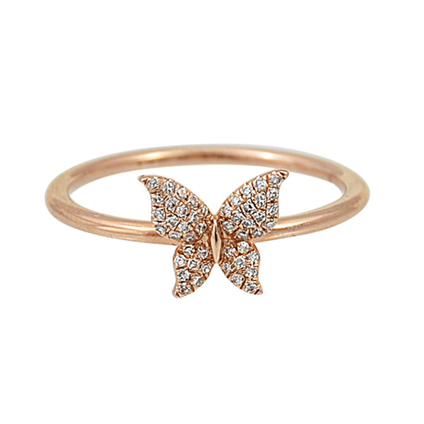 0.10ct Round Diamonds in 14K Rose Gold Butterfly Promise Ring