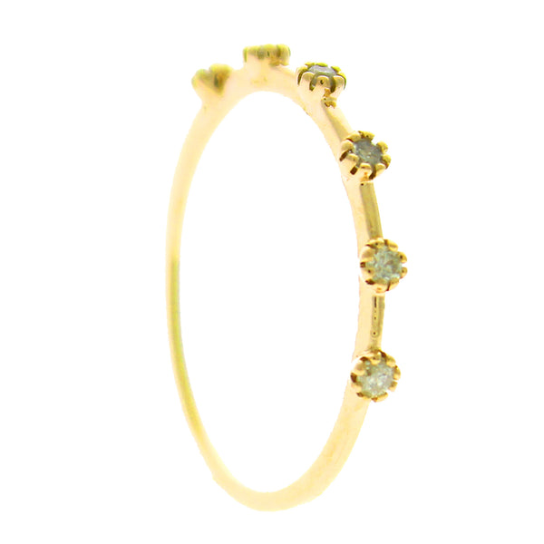 0.13ct Prong Set Six Round Diamonds in 14K Gold Band Ring