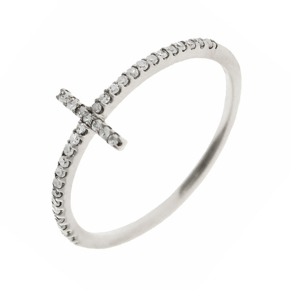 0.15ct Pavé Round Diamonds in 14K Gold Skinny Cross Ring