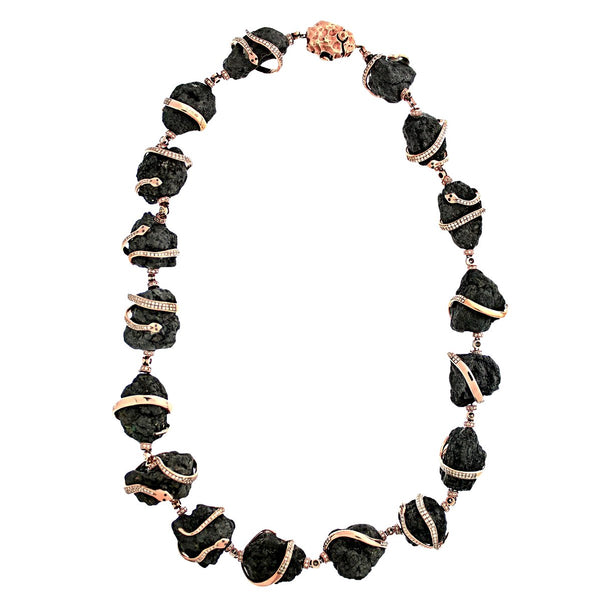 759.50ct Rough Black Diamonds in 18K Rose Gold Snake Accent Statement Necklace 16""