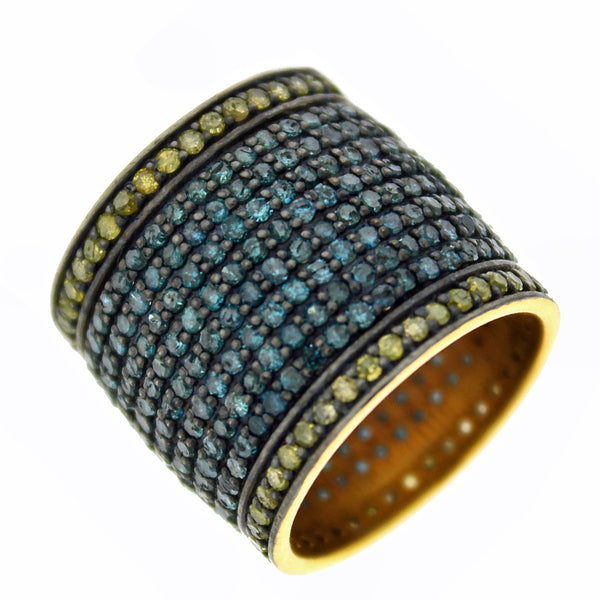 4.35ct Pavé Round Blue & Yellow Diamonds in 925 Sterling Silver Pipe Cigar Ring