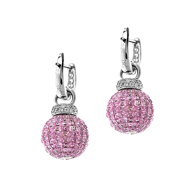 15.51tcw Pink Sapphire with Diamonds in White Gold Dangle Ball Drop Earrings