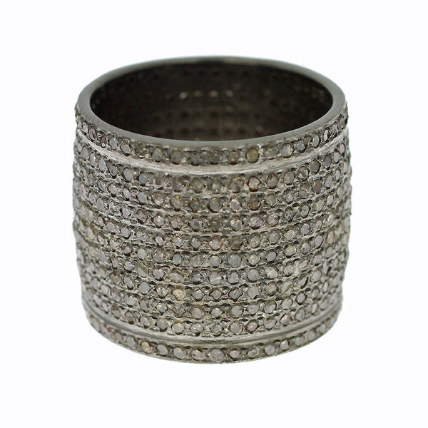 3.61ct Pavé Round Fancy Diamonds in 925 Sterling Silver Pipe Cigar Ring