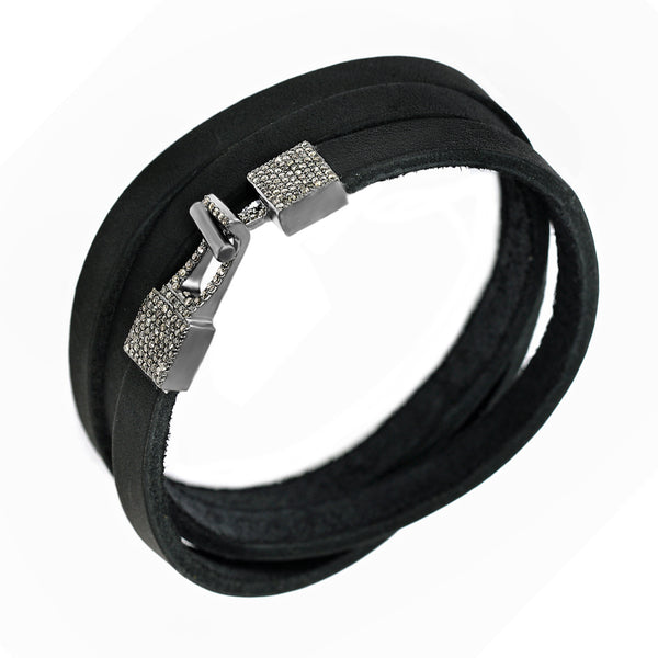 0.83ct Fancy Diamonds in 925 Sterling Silver Buckle Triple Wrap Black Leather Bracelet