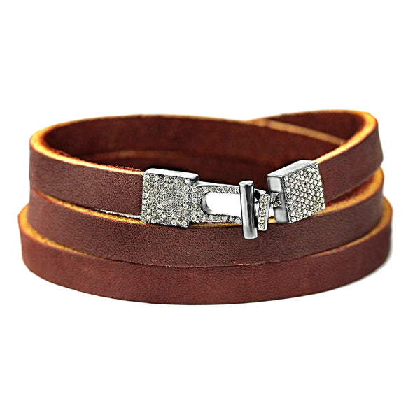 0.83ct Fancy Diamonds in 925 Sterling Silver Buckle Triple Wrap Brown Leather Bracelet