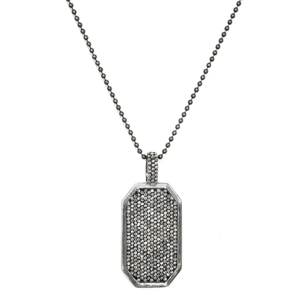 4.75ct Pavé Diamonds in 925 Sterling Silver Dog Tag Necklace 20""