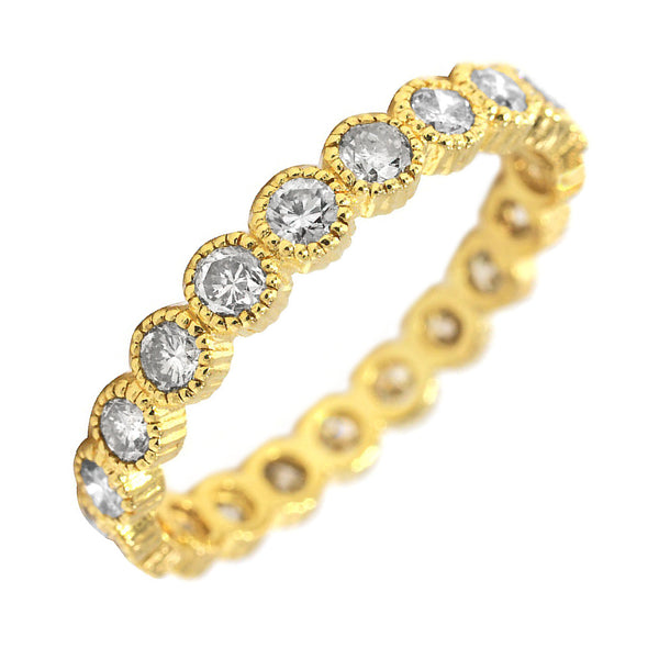 0.93ct Round Diamonds in 18K Yellow Gold Milgrain Bezel Wedding Eternity Band Ring