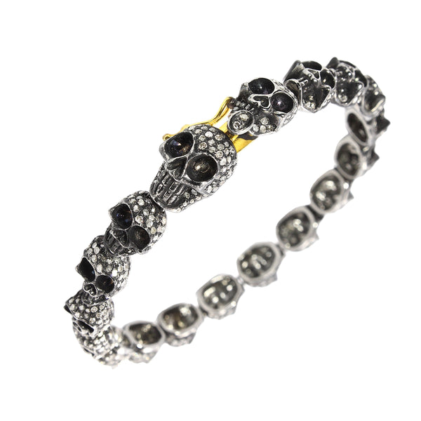 3.31ct Diamonds in 925 Sterling Silver & 18K Gold Skull Chain Bracelet 7""