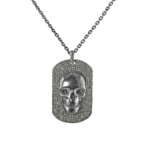 2.17ct Pavé Diamonds in 925 Black Rhodium Sterling Silver Skull Dog Tag Necklace