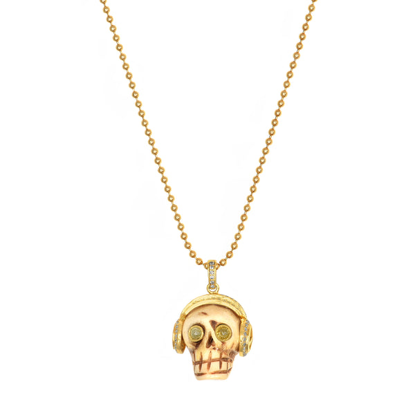 1.36ct Champagne Diamonds in Bone Skull with Headphone Pendant 14K Gold Plated Silver Necklace 30""