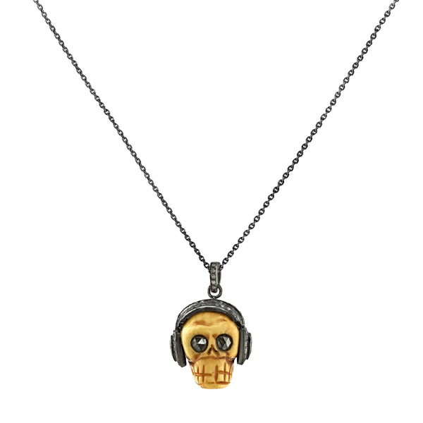 1.90tcw Diamonds in 925 Sterling Silver Bone Skull with Headphones Pendant Necklace