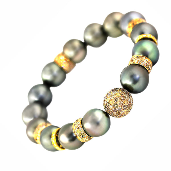 5.77ct Pave Fancy Diamond in Tahitian Peacock Pearl Stretch Bracelet