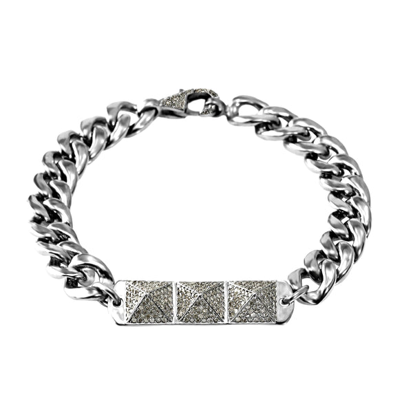 1.50ct Pavé  Diamonds in 925 Sterling Silver Triangle Stud Curb Link ID Bracelet 7""
