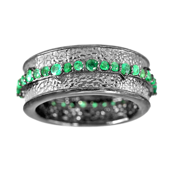 0.94ct Round Emerald in 925 Black Rhodium Sterling Silver Full Eternity Band