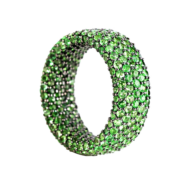 7.90tcw Pavé Tsavorite in 925 Sterling Silver Eternity Band