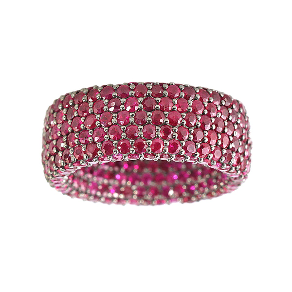 8.24tcw Pavé Round Ruby in 925 Sterling Silver Eternity Band Ring