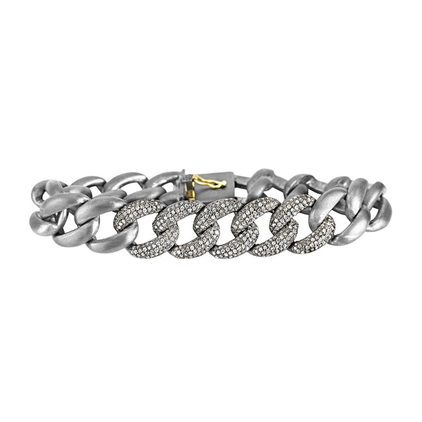 2.70ct Pavé  Diamonds in 925 Sterling Silver Cuban Curb Link Bracelet