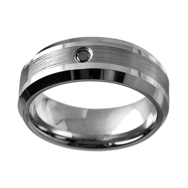 0.05ct Black Diamond in Brushed Center Tungsten Wedding Band Ring