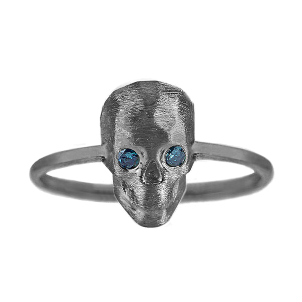 0.06tcw Bezel Round Blue Diamond in 925 Black Rhodium Sterling Silver Skull Statement Ring