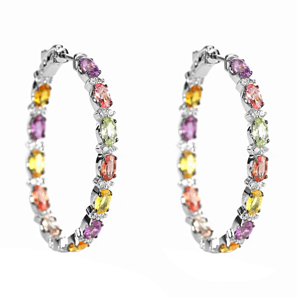 7.59tcw Rainbow Sapphire & Diamond in 18K  White Gold Oval Hoop Earrings