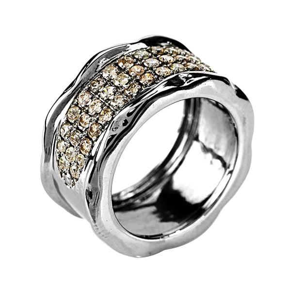 1.01ct Pavé Diamonds in 925 Sterling Silver Wavy Cigar Band Ring