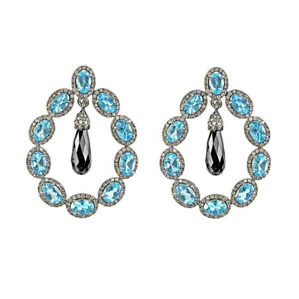 19.57tcw Oval Apatite & Drop Spinel with Diamonds in 925 Sterling Silver Hoop Earrings