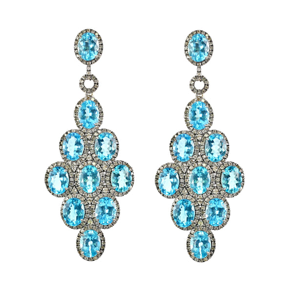 27.55tcw Oval Blue Apatite with Diamonds in 925 Sterling Silver Chandelier Earrings