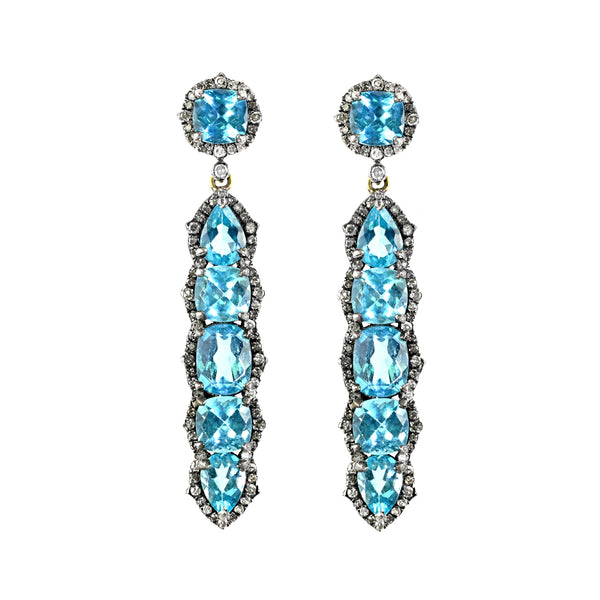 12.99tcw Blue Apatite with Diamonds in 925 Sterling Silver Dangle Earrings