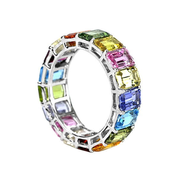 10tcw Emerald-Cut Floating Rainbow Sapphire in Gold Eternity Band