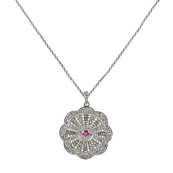 1.95tcw Pink Sapphire & Diamonds in 925 Sterling Silver Flower Pendant Necklace