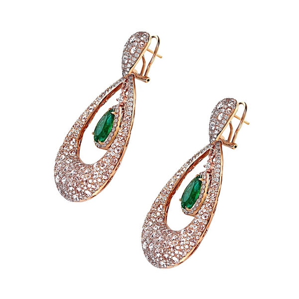 19.22tcw Emerald & Diamonds in 18K Rose Gold Drop Earrings