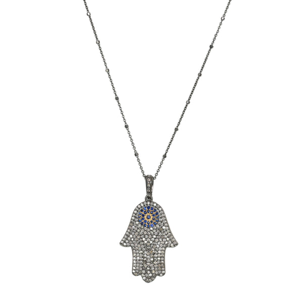 1.42ct Diamonds & Sapphires 925 Sterling Silver Hamsa Hand Pendant Necklace 18""