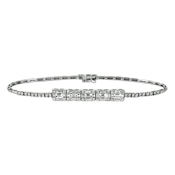 1.71tcw Round & Baguette Diamonds in 18K White Gold Bracelet 7""