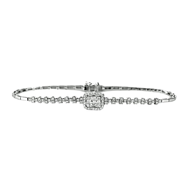 0.93tcw Round & Baguette Diamonds in 18K White Gold Bracelet 7""