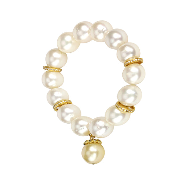 0.92ct Diamonds in South Sea Pearls 18K Spacers Stretch Bracelet 6.5""