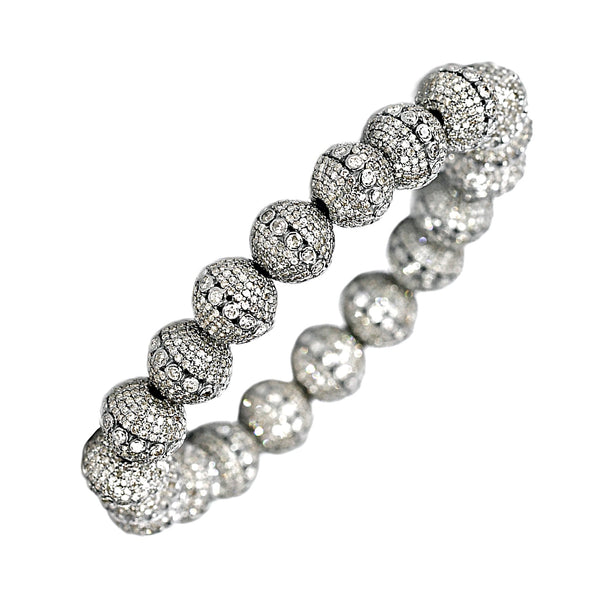 21.00tcw Round Diamonds in 925 Sterling Silver Stretch Bracelet 6.5""