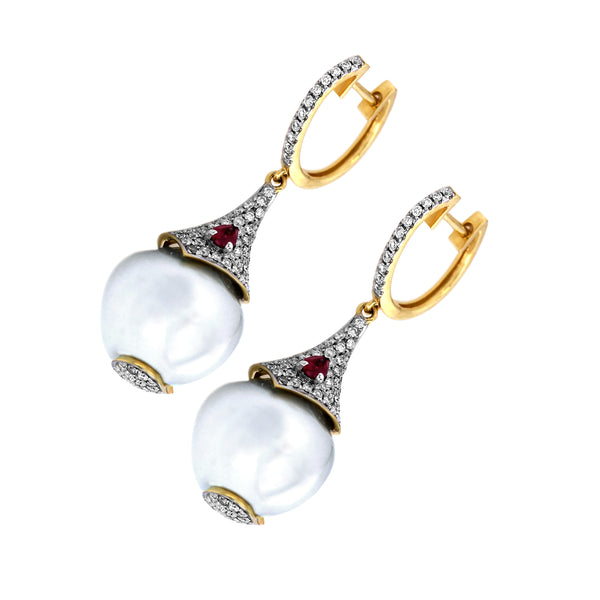 1.51tcw Diamonds & Ruby in 18K Yellow Gold Fresh Water Pearl Dangle Earrings