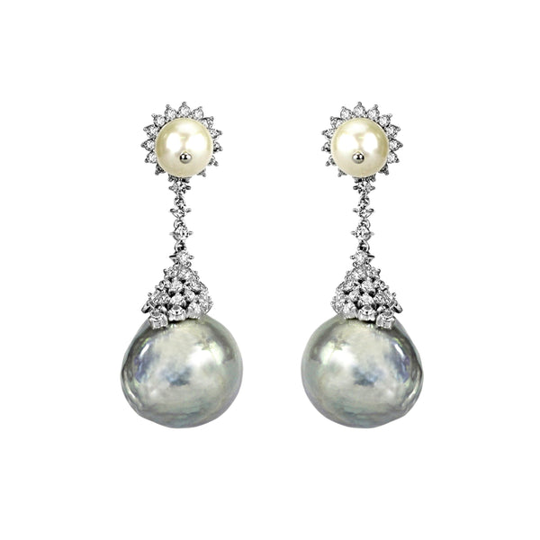 1.43tcw Round Diamonds in 18K White Gold Fresh Water Pearl Statement Dangle Earrings