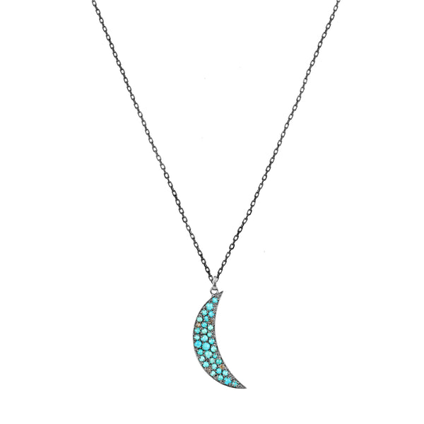3.15tcw Turquoise & Fancy Diamonds in 925 Silver Crescent Moon Pendant Necklace