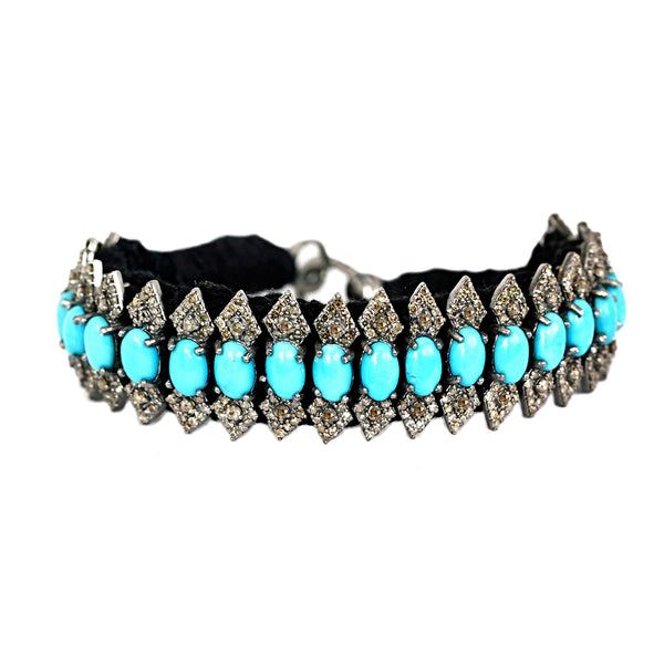 13.74ct Turquoise & Diamonds in 925 Sterling Silver Black Thread Bracelet 7""