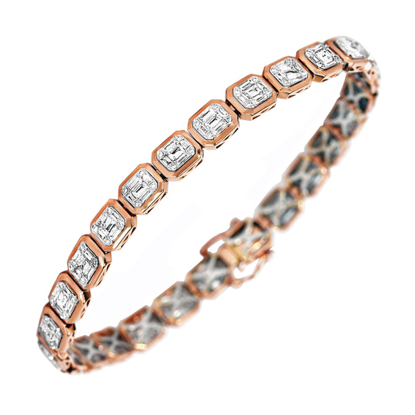 2.92tcw Round & Baguette Diamonds in 18K Rose Gold Tennis Bracelet 7""