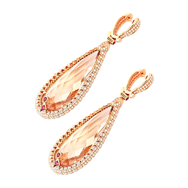 114.57tcw Pear Morganite with Diamonds & Ruby in 18K Rose Gold Dangle Drop Earrings