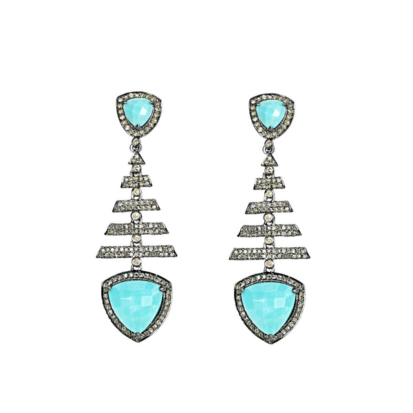 8.73tcw Turquoise & Diamonds in 925 Silver Fish Bone Dangle Earrings
