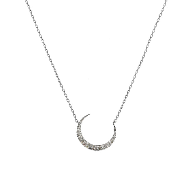 0.95ct Pavé Round Diamonds in 925 Sterling Silver Crescent Moon Charm Necklace 18""